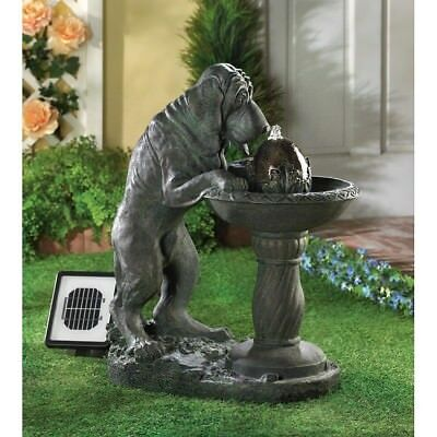 Thirsty Dog Solar Outdoor Water Fountain, Animal Backyard Solar Garden Decor