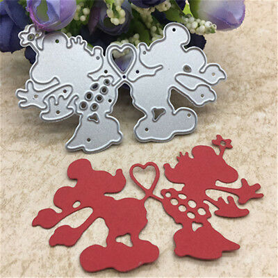 Cute Heart Mouse Toy Doll Metal Cutting Dies Scrapbook Cards Photo Album LJ