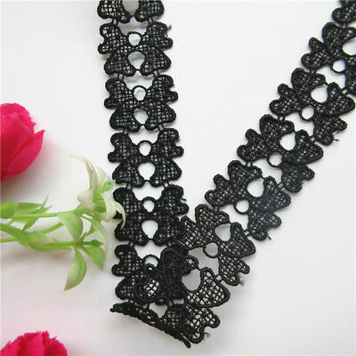 Wholesale 13yards/lot 3.2cm Black Butterfly Lace Edge Trim Ribbon Sewing Craft