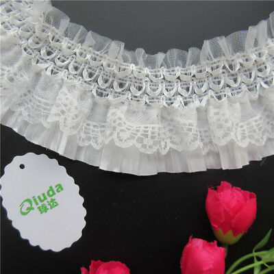 Wholesale 13yards/lot 8cm White Embroidered Lace Edge Trim Ribbon Sewing Craft
