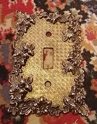 Vintage American Tack &Hdwe Co. Brass Single Switch Plate Cover Floral-#60t 1967