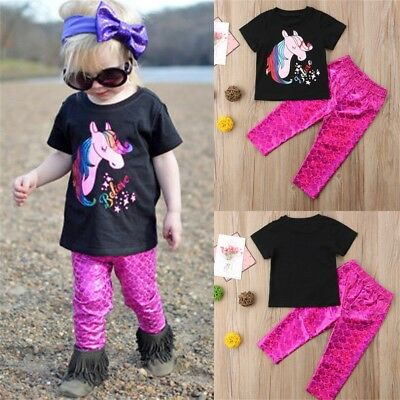 AU New Unicorn Newborn Baby Girl Outfit Clothes Unicorn Tops Leggings Pants Set