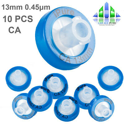 10Pcs CA Syringe Filter OD 13MM 0.45 Pore size Cellulose Acetate Membrane HPLC