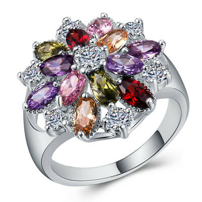 Fashion Women 925 Silver Jewelry Multicolor Topaz Wedding Ring Size 6-10
