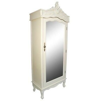 Cream Single Wardrobe Mirror Shabby Chic Armoire French Country Chateau Bedroom