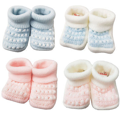 Baby Boys Girls 1 Pair Turnover Baby Booties New Born To 3 Months Approx S402