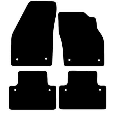 Tailored Black Car Floor Mats Carpets 4pc Set with Clips for Volvo V50