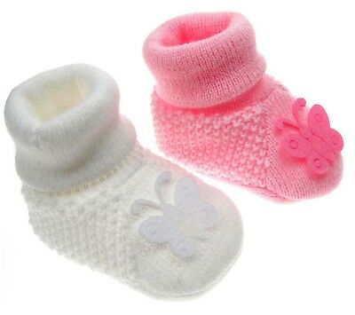 Baby Girls 1 Pair Butterfly Baby Booties New Born To 3 Months Approx S412