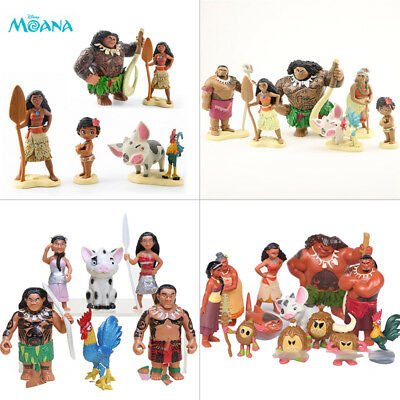 Moana Action Figures Doll Kids Figurines Toy Cake Topper Decor Set