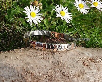 Stainless + Copper Magnetic Energy Armband Power Bracelet Health ELASTIC bangle