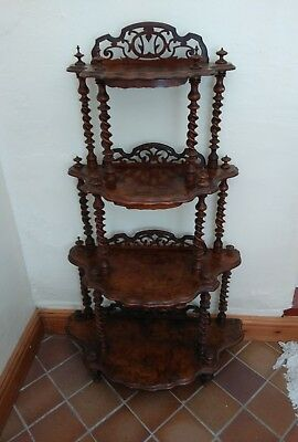 Beautiful Victorian Burr Walnut Four Tier Whatnot