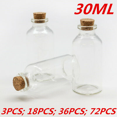 Small Mini 30ml Jar Craft Glass Vial Jars Bottles Containers Cork Stopper Lid WM