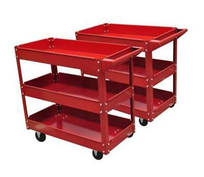 2 X Workshop Tool Trolley Set 3 Handle Garage Shelves Storage Brake Wheels 100Kg