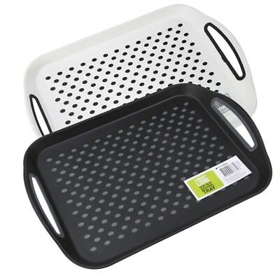 Rectangular Non Slip Plastic Serving Tray Food Tray Rubber Surface Party 41x29cm