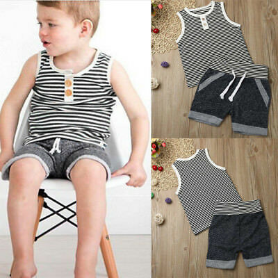 Toddler Kids Baby Girls Boys Stripe T shirt Tops Shorts Pants Outfit Clothes Set