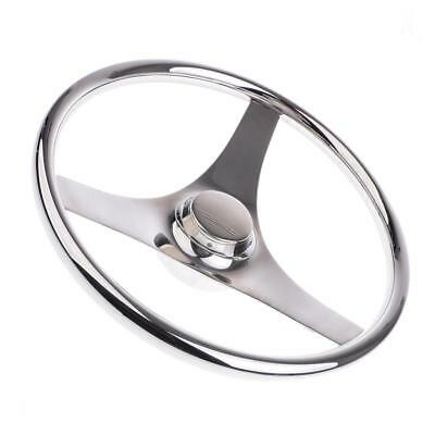 "Boat Stainless Steel 13.4"" 340mm Steering Wheel 3 Spoke For Marine Yacht"