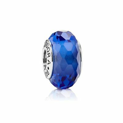 Genuine PANDORA Silver Murano Glass bead S925 ALE Blue Faceted Charm - 791067