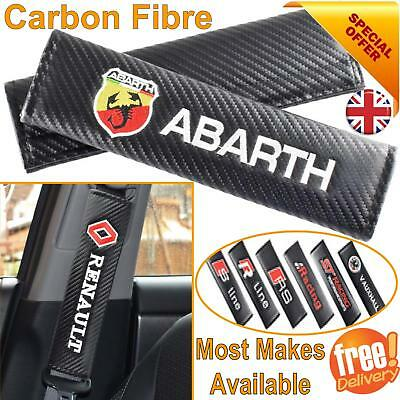 Car Seat Belt Safety Shoulder Strap Cover Cushion Harness Pad Carbon Fiber Logo