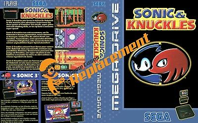 Sonic And Knuckles Megadrive Game Case Cover Insert Reproduction