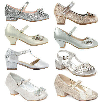 Girls Low Heel Party Mary Jane Glitter Evening Sandals Wedding Court Shoes Size