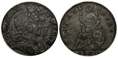GR BRITAIN England. William and Mary. 1690 Tin Farthing. NGC XF45. S-3451.