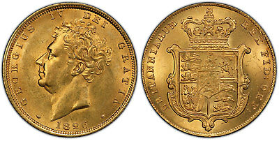 GR BRITAIN George IV. 1826 AV Sovereign. PCGS MS63 S-3801 Original surfaces.
