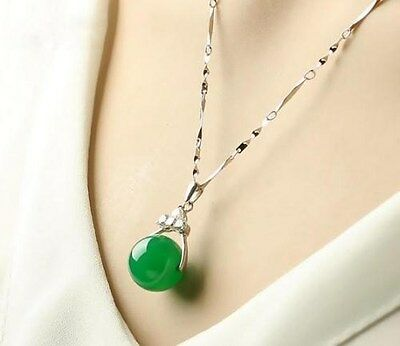 100% Natural Hand-carved Chinese green Jade pendant Insert Silver carving