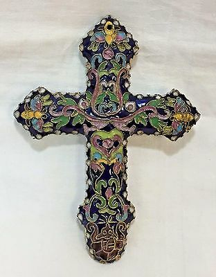 "Antique French Champleve Enamel Cross / Crucifix LARGE Two Sided 5.25"" Cloisonne"