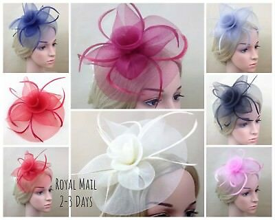 Large Comb Hat Hatinator Fascinator Weddings/Races/Ascot Feather Clip Brooch Hat