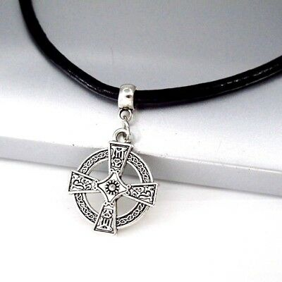 Silver Alloy Round Knights Templar Cross Pendant Black Leather Choker Necklace