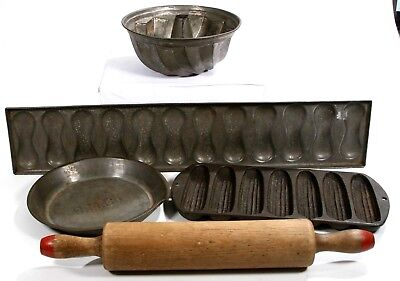 Mix Lot Antique Baking Pans Cast Iron Corn Bread Muffin Rolling Pin Kitchen 5 Pc