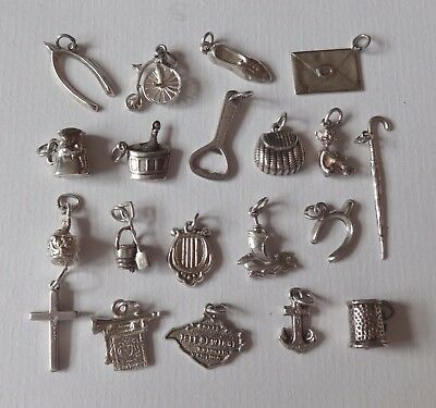 VINTAGE SILVER ASSORTED CHARMS, JUG, LYRE, PIXIE, SHOE, CROSS, ANCHOR, SHIP  etc
