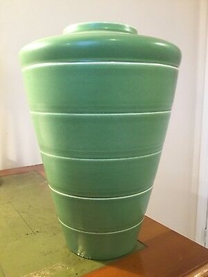 Large Keith Murray Vase,Matt Green, 11 inches in height