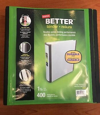 Staples 1-1/2 Inch Better View Binders with D-Rings Green Supplies Filing Office