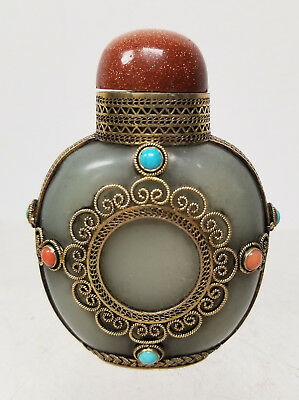 Antique Chinese Gilt Silver Mounted Nephrite Jade Snuff Bottle Coral Imperial