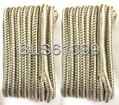 """(2) White & Gold Double Braided 3/8"""" in x 15' ft HD Boat Marine Dock Line Ropes"""