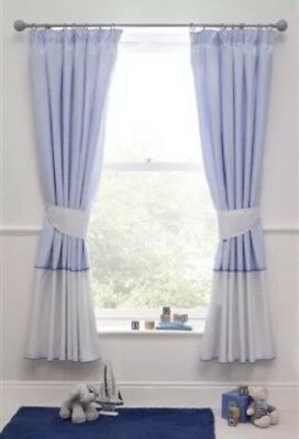 Next Ocean Days Blue Stripe Pencil Pleat Blackout Curtains 117X 137 Cm.rrp £50.