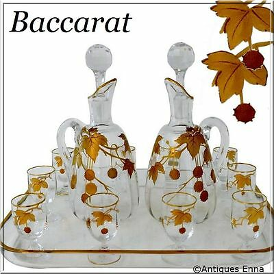 1900 Rare Baccarat Gold Crystal Liquor or Aperitif Service, Sycamore tree model