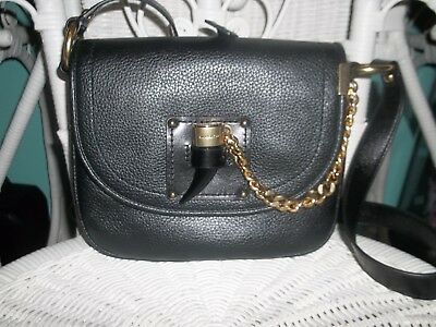 da68eb824612 MICHAEL KORS JAMES Saddle Bag Medium Black Pebble Leather - $55.00 ...