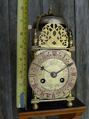 Rare Antique C17th/C18th ex. verge/alarm adapted London miniature LANTERN CLOCK