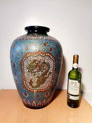 Jarrón china antiguo bronce esmaltes cloisonné XIX 19 th siglo