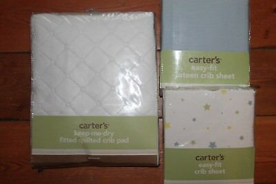 NWT Carter's Keep Me Dry Waterproof Fitted Quilted Crib Pad 2 Sheets Blue Stars