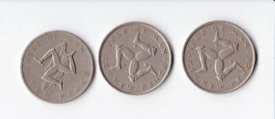 Isle of Man Large 10p Coins. 1975 (x2) & 1978