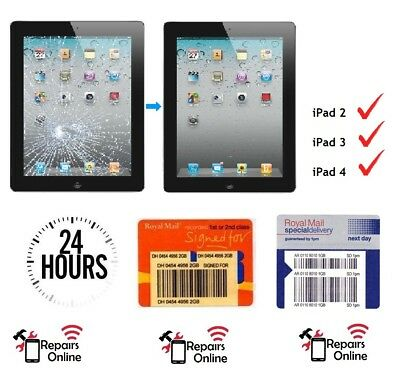 *FAST* iPad 2 3 4 Front Cracked Glass Screen Digitizer & Button Repair Service