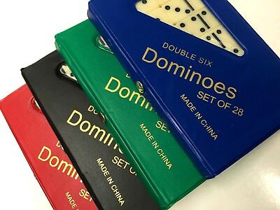 Dominoes Set of 28 DOUBLE 6 SIX with Box Traditional Standard Tiles Games