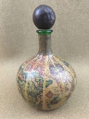 Vintage Decanter Old World Globe Map Genuine Italian Leather Covered Bottle
