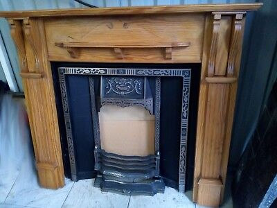Pine Fireplace Cast Iron Surround Grate front and Granite Base