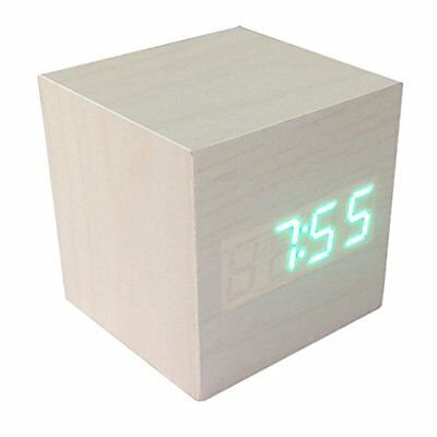 Cube Alarm Clock Loud Best For Kids Heavy Sleeper Atomic Led Voice Control White