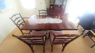 Antique Dining Table Set with 8 Chairs, Buffet, plus Inserts & Table Pads