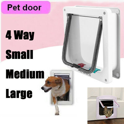 Dog Cat Flap Doors with 4 Way Lock for Pets Kitten Entry & Exit Lockable Safe US